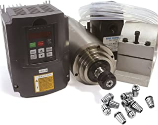 2.2KW Water Cooled Spindle Motor ER20 110V/AC Kit & 2.2kw 110V Inverter VFD 3HP & 80mm Clamp Mount & 75W Water Pump 110V with 6M Pipe & 14pcs / Set ER20 Collet for CNC Router Engraving Milling Machine