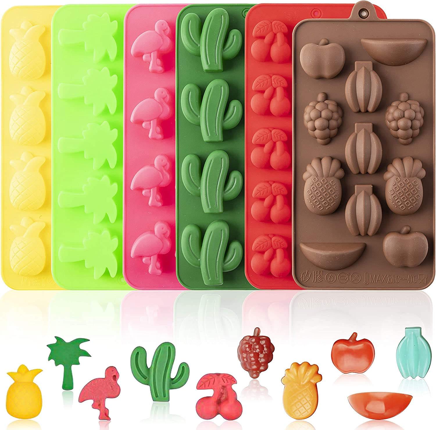 Cluo Pack of 6 Silicone Molds Hawaiian Themed Max 46% OFF Pineapple Max 51% OFF Tropical