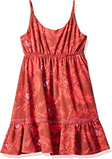 Girls' Printed with Elastic Waist and Ruffle Trim Tank Dress