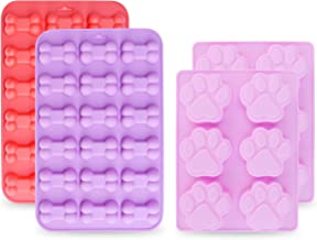 homEdge Jumbo Puppy Dog Paw (6 Cavity) and Bone Molds, Non-Stick Food Grade Silicone Dog Treats Molds, Silicone Mold for C...