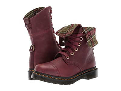 Dr. Martens Aimilita 9-Eye Toe Cap Boot (Cherry Red Grizzly/DMS Tartan Khaki Wool) Women