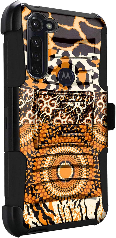 DALUX Hybrid Kickstand Holster Phone Case Compatible with Moto G Stylus/Moto G Power / G8 Power (2020) - Leopard Safari Print