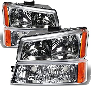 HEADLIGHTSDEPOT Chrome Halogen 4 Piece Headlights Compatible with Chevrolet GMC Sierra 2500 3500 HD Classic Silverado 1500 2500 3500 HD Classic 2003-2007 Includes Left and Right Side Headlamps