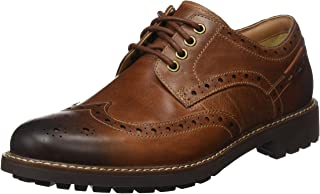 Clarks Montacute Wing Lace-Ups Mens - Dark Tan Leather