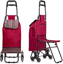 Nicely Neat Stair Climbing Multipurpose Folding Utility Cart with Built-in Seat for Laundry, Grocery, Shopping and More…