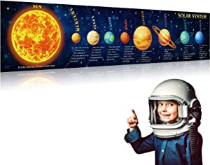 Solar System Poster Science Banner Large Educational Kids Outer Space Banner Poster Background Classroom Planetary Poster for Kids Classroom Bedroom Wall Art Educational Decorations, 70.9 x 15.7 Inch