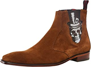 Jeffery-West Men's Suede Scarface Skull Chelsea Boots Brown