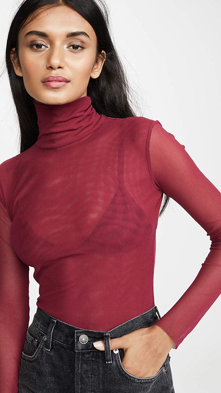 Free People Womens Double Layer Mesh Turtleneck