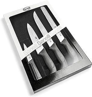 Sanelli Linea Skin - Juego de cuchillos profesionales Chef, 4 unidades, acero inoxidable