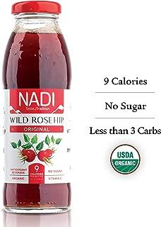 NADI Organic Wild Rosehip Juice, Antioxidant Drink, Fruit & Herbal Tea, Great Immune System Booster, Rich in Vitamin C, Sugar Free – ZERO SUGAR - Only 9 Calories, Low Carb, Keto, 10 oz, pack of 12