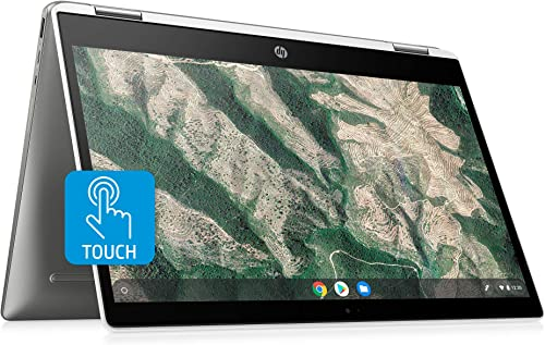 lowest HP Chromebook x360 14-inch HD Touchscreen Laptop, Intel Celeron N4000, 4 GB RAM, 32 GB eMMC, outlet sale Chrome online (14b-ca0010nr, Ceramic White/Mineral Silver) outlet sale