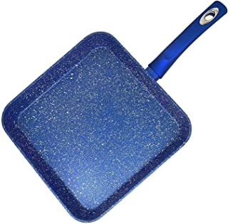 """11"""" Blue Forged Aluminum Square Marble Granite Nonstick Ceramic Frying Grill Pan - Free"""