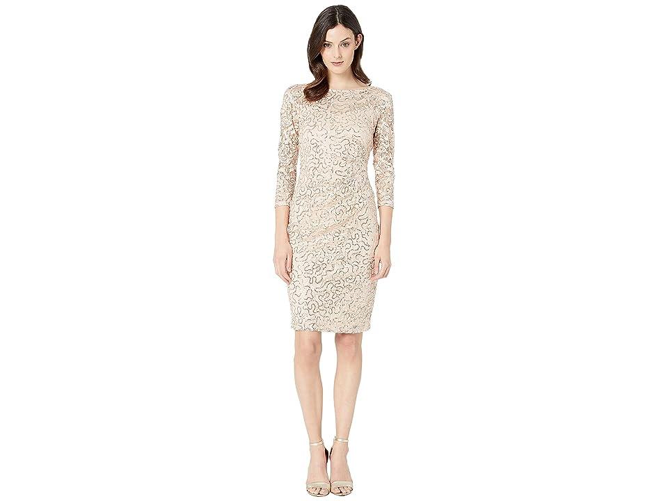 MARINA Short Long Sleeve Side Pleat Dress (Peach) Women