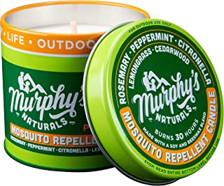 Murphy's Naturals Mosquito Repellent Candle | Outdoor Citronella Candle For Patio & Garden | Soy Wax Beeswax, Peppermint, Lemongrass, Rosemary, Cedarwood | Made In USA | 9oz