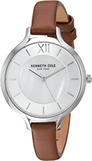 Kenneth Cole Women's Silver Dial Genuine Leather Band Watch - Kc15187005, Analog Display
