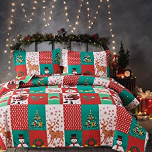 Christmas Plaid Snowman Quilt Set Twin Size (68 x 86 Inches.) Santa Claus Reindeer Xmas Tree Snowflake Bedding Sets,Red Green Grid Coverlet Bedspread Bed Cover Bed Set with Pillowcases (Green,Twin)