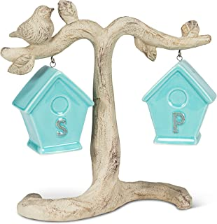"""Abbott Collection 27-Nester-BLU Birdhouse Salt and Pepper on Branch-7.5"""" l, White and Blue"""