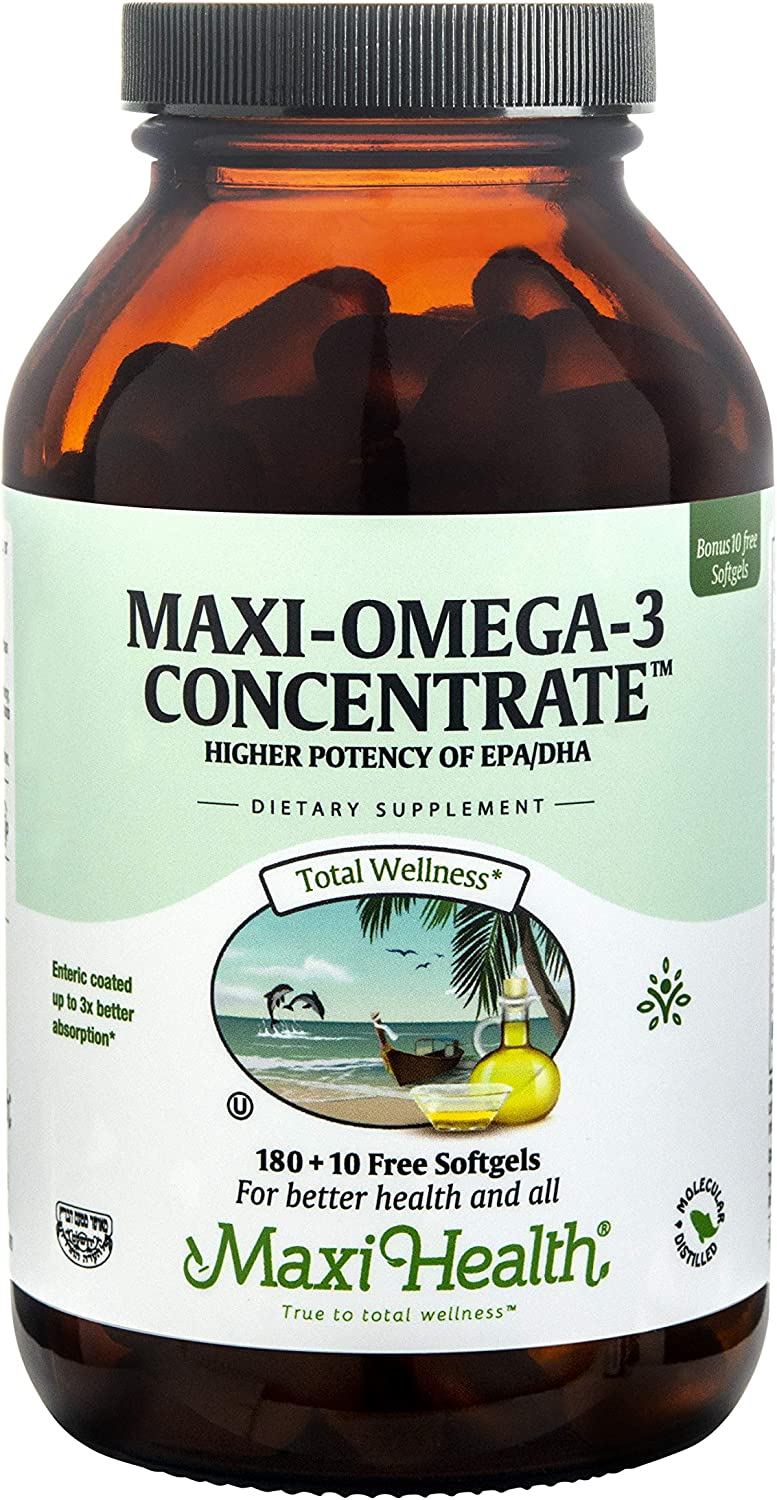 Maxi Health Omega-3 Fatty Low price Acids Oil - Ranking TOP16 Fish 2000mg Concentrate