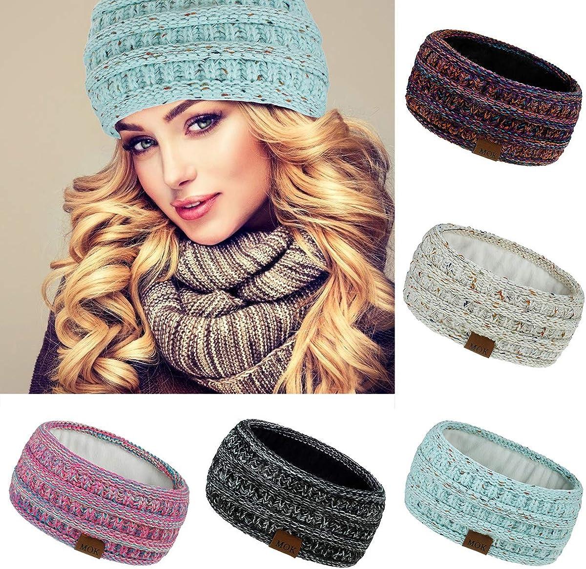 Women Warm Knit Fleece Lined Headband Winter Ear Warmer Headband~