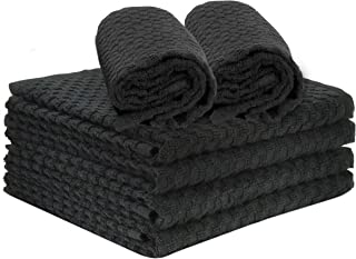 """Talvania Kitchen Towels 100% Cotton Dobby Weave Terry Towel Set Soft and Absorbent Multipurpose Dish Cloth, Hand Towel and All Kitchen Cleaning 15"""" X 25"""" Set of 6 Machine Washable (Black)"""