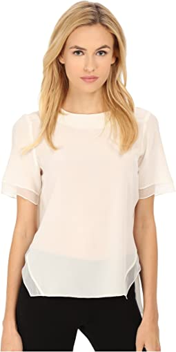 Crepe De Chine Silk Short Sleeve Top
