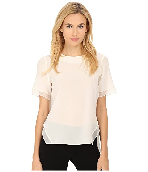 Prabal Gurung Crepe De Chine Silk Short Sleeve Top