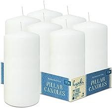 Hyoola White Pillar Candles 3x6 Inch - Unscented Pillar Candles - 6-Pack - European Made