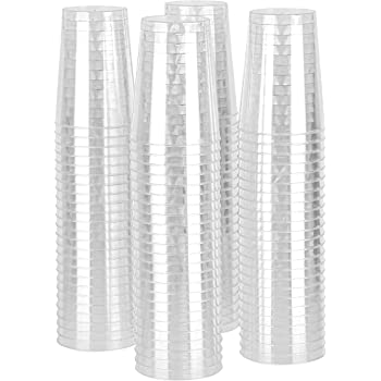 Party Bargains 100 Count 10oz Hard Clear Disposable Plastic Round Tumbler Party Beverage Wedding Cups