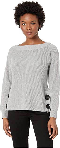 Petite Long Sleeve Boat Neck Button Side Sweater