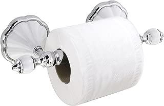 MODONA Toilet Paper Holder - White Porcelain & Chrome - Flora Series - 5 Year Warrantee