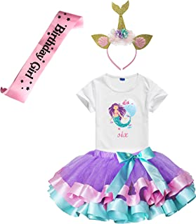 Charmbow Girls Lavender Tutu Dress with Mermaid Birthday Tshirt & Headband, 3-8 Years