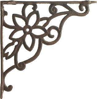 "Import Wholesales Cast Iron Wall Shelf Bracket Vine & Flower Rust Brown 9.625"" Deep"