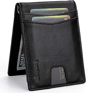 Vemingo Minimalist Wallets for Men Genuine Leather Bifold Wallet with Money Clip RFID Blocking Front Pocket Wallet Slim