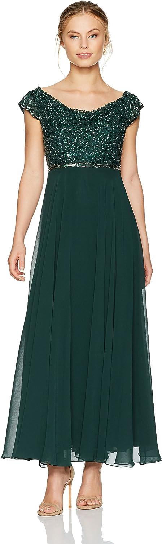 J Kara Womens Beaded Empire Waist Gown Petite Dress