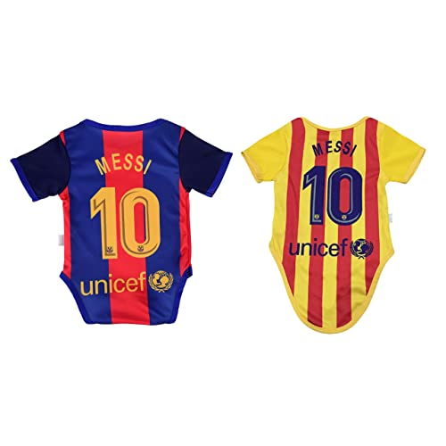 45edbcca934 Lionel Messi #10 Soccer Jersey Baby Infant & Toddler Onesies Rompers Pack of  2 Home