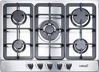 Plaque à gaz en acier inoxydable Modèle LGI 7041 x 5 brûleurs à gaz Plan à gaz naturel Injecteurs de gaz Butane inclus Lar...