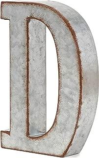 Bright Creations Rustic Letter Wall Decor - Galvanized Metal 3D Letter D Decor