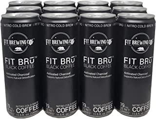 FITBRū - Black Coffee Nitro Cold brew: Supports Natural Detoxification - 12 Fluid Ounce, 12 Count - Grab And Go Coffee