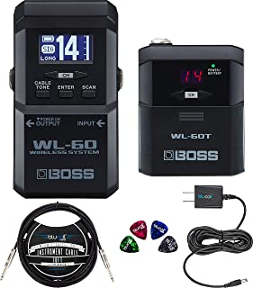 BOSS WL-60 Guitar Wireless System Bundle with WL-60T Transmitter, 2 AA Batteries, Blucoil Slim 9V 670ma Power Supply AC Adapter, Blucoil 10-FT Mono Instrument Cable, and 4x Guitar Picks