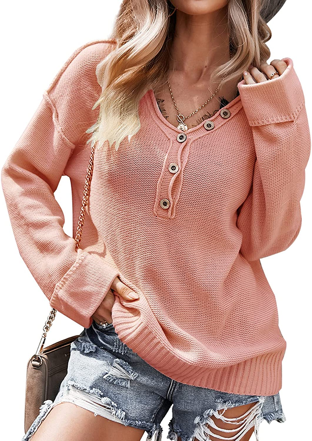 WDSTYLE Women's Long Sleeve V Neck Sweaters Loose Fit Casual Button Knit Pullover Sweater Oversized Sweatshirt Henley Tops