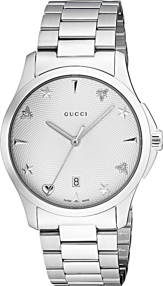 Gucci orologio unisex con cinturino in acciaio inox YA1264028