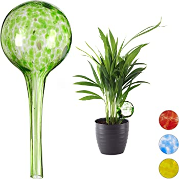 Relaxdays Bewässerungskugel 2er Set, dosierte Bewässerung Pflanzen u. Blumen, Gießhilfe Büro, Urlaub, Ø 6 cm, Glas, grün, H x D: ca. 15 x 6 cm