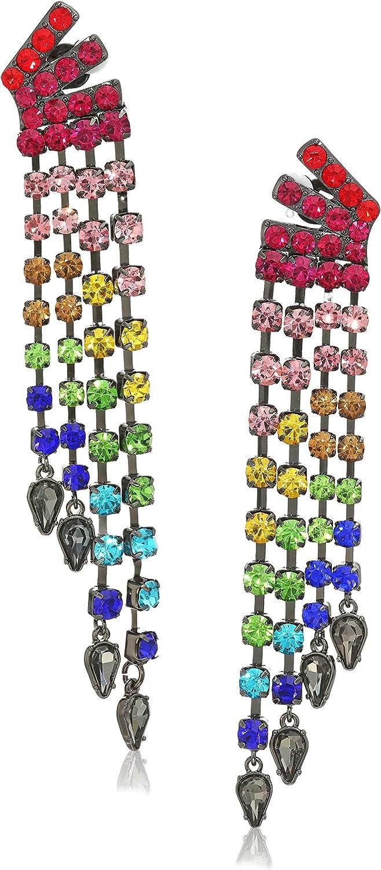 Betsey Johnson Stone Fringe Clip-On Earrings