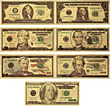 LONG7INES 7 Pack USA President 1/2/5/10/20/50/100 Dollar Bill Banknote, 24k Gold Coated Legacy Limited Edition Chief Executive Banknote Bill Great Gift for Coin Currency Collectors and Republican