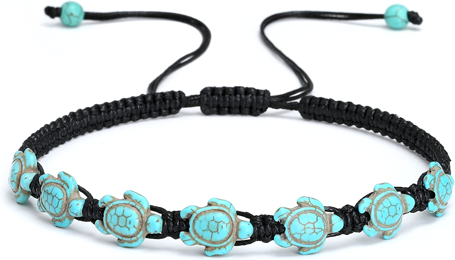 Hawaii Style Turtle Necklace Choker for Women Turquoise Beads Choker Necklace Save The turtle Straw Adjustable Handmade Jewelry