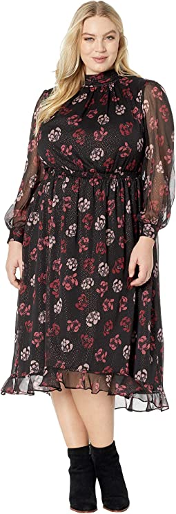 Plus Size Long Sleeve Regal Stamp Floral Maxi Dress