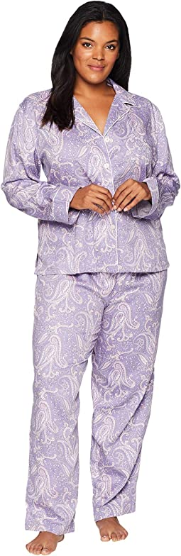 Plus Size Classic Woven Long Sleeve Pointed Notch Collar Pajama Set