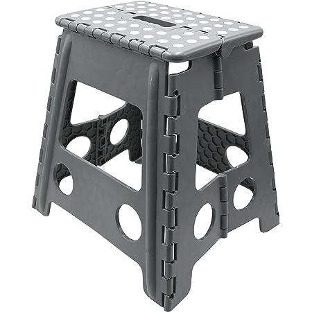 Tabouret pouvant Supporter jusqu/à 150 kg Spetebo Marchepied Pliable Gris
