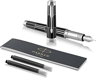 PARKER Premier Fountain Pen, Luxury Black with Chrome Trim, Fine Nib with Black Ink Refill