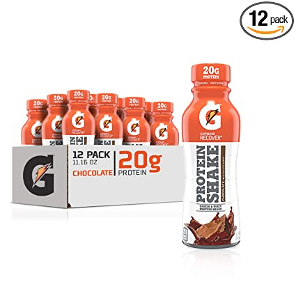 Gatorade Recover Protein Shake, Chocolate, 20g Protein, 11.6 fl oz Plastic Bottle, Pack of 12